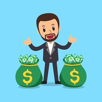 Homme d'affaires de dessin animé de vecteur avec des sacs d'argent