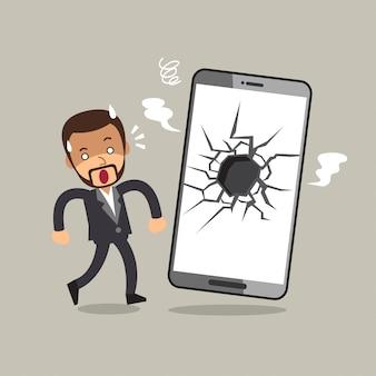 Homme d'affaires de dessin animé de vecteur et smartphone écran cassé