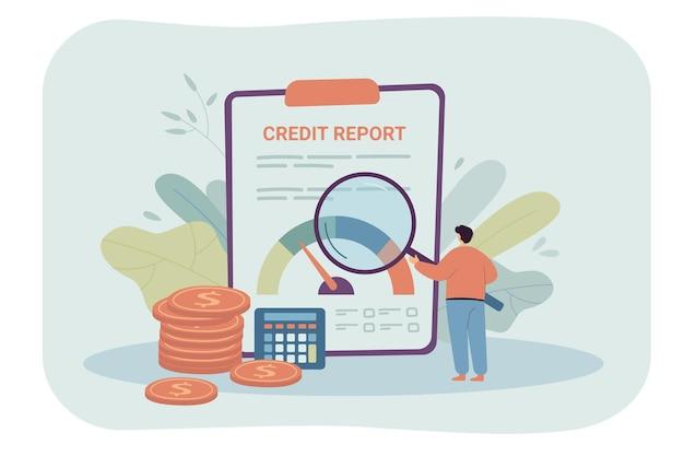 Homme d'affaires de dessin animé vérifiant le rapport de crédit à l'aide d'une loupe