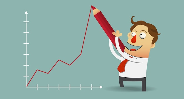 Homme d'affaires dessin diagramme de croissance positive