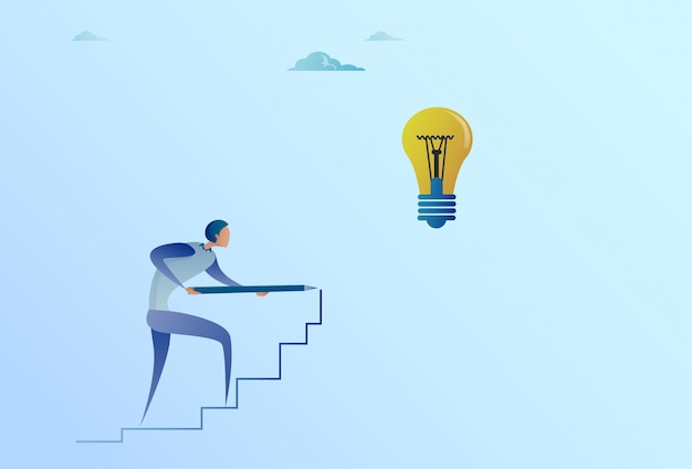 Homme d'affaires, dessin sur les escaliers jusqu'à ampoule nouvelle idée pour le concept de démarrage