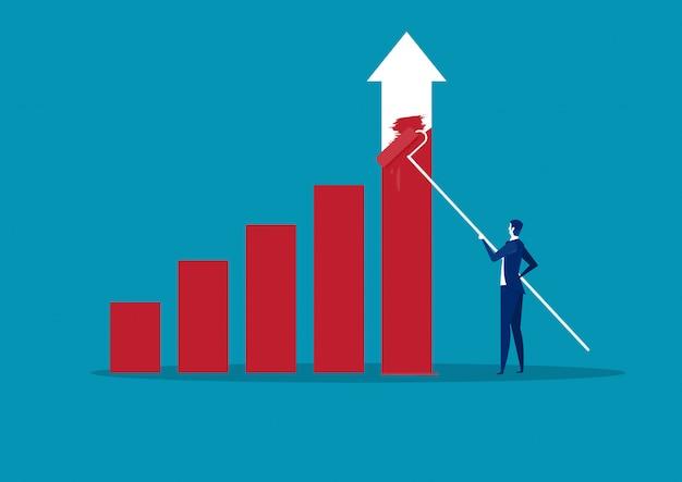 Homme d'affaires dessin financier graphique à barres finance concept succès. illustration vectorielle