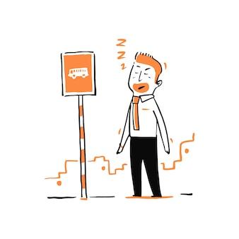 Homme d'affaires dessiné à la main en attente d'un bus à l'arrêt de bus.
