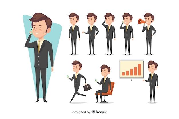 Homme d'affaires dessiné main belle faisant différentes actions