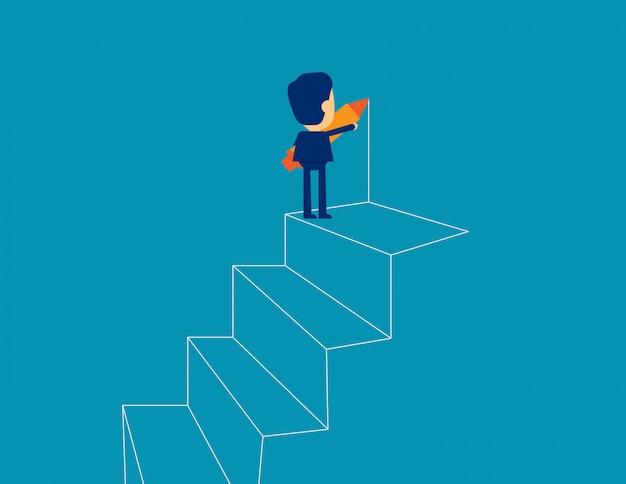 Homme d'affaires dessiner le contour des étapes