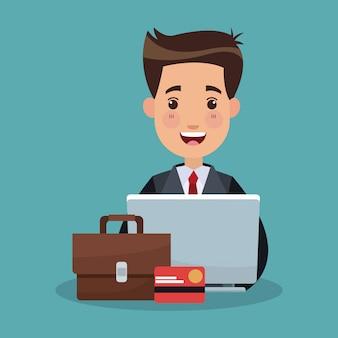 Homme d'affaires et dessins animés