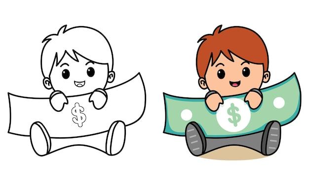 Homme d'affaires détenant de l'argent coloriage pour les enfants