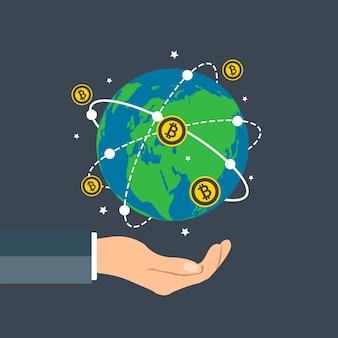 Homme d'affaires détenant le concept de bitcoin globe terrestre autour