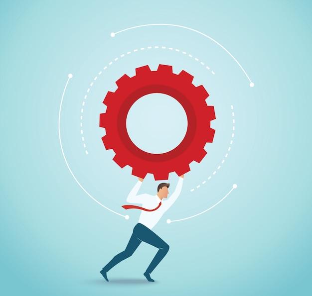 Homme d'affaires détenant le concept d'engrenages de l'innovation