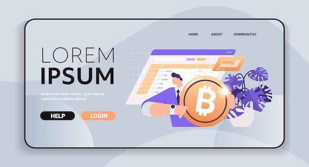 Homme d'affaires détenant une crypto-monnaie d'or crypto-monnaie minière de la technologie de blockchain de monnaie numérique d'argent virtuel
