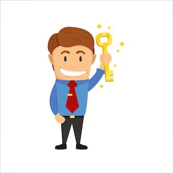 Homme d'affaires détenant la grosse clé d'or de l'illustration de la réussite
