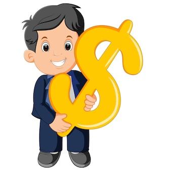 Homme d'affaires détenant le signe dollar