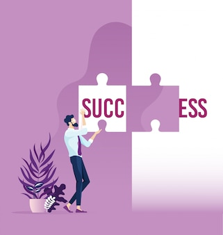 Homme d'affaires détenant le succès du mot divisé sur deux pièces