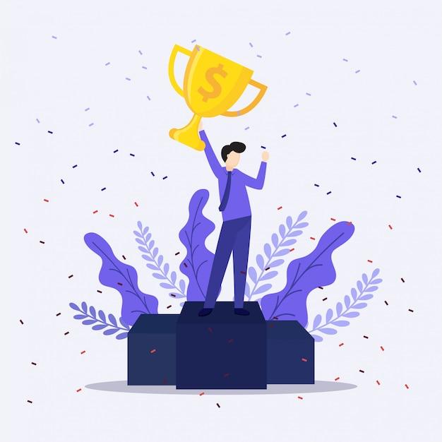 Homme d'affaires détenant le trophée gagnant. concept de victoire.
