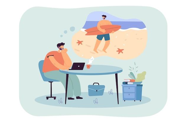 Homme d'affaires détendu rêvant de vacances dans une île tropicale