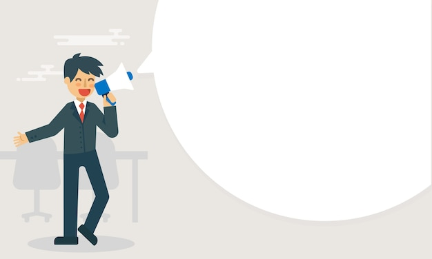 Homme d'affaires détiennent une publicité mégaphone