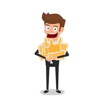 Homme d'affaires détient le pouce en l'air signe concept de rétroaction positive