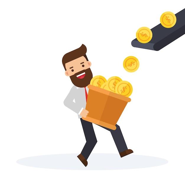 Homme d'affaires devant une machine de production d'argent