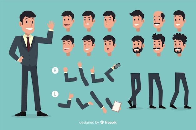 Homme d'affaires avec différentes postures