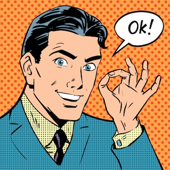 Homme d'affaires dit succès correct pop art comics style rétro halfton