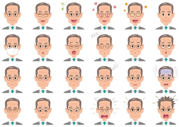 Homme d'affaires diverses expressions définies. caractères de vecteur isolés
