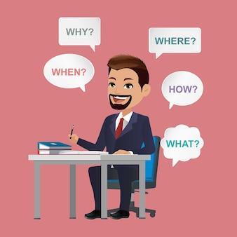 Homme d'affaires avec diverses questions qui quoi pourquoi où quand