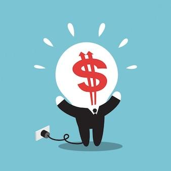 Homme d'affaires avec dollar tête de l'ampoule