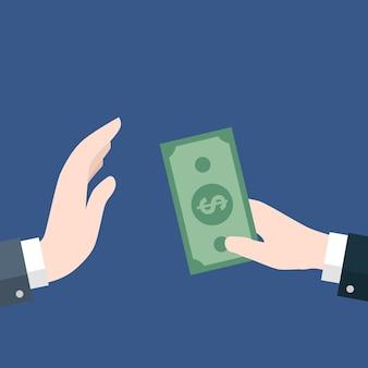 Homme d'affaires donnant de l'argent, pas de corruption