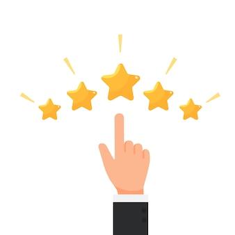 Homme d'affaires donnant cinq étoiles cote vecteur de concept de rétroaction
