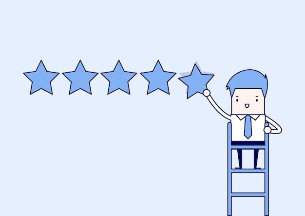 Homme d'affaires donnant cinq étoiles. vecteur de style de ligne mince de personnage de dessin animé.
