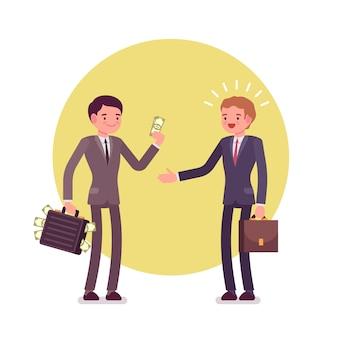 Homme d'affaires donne de l'argent à un autre homme