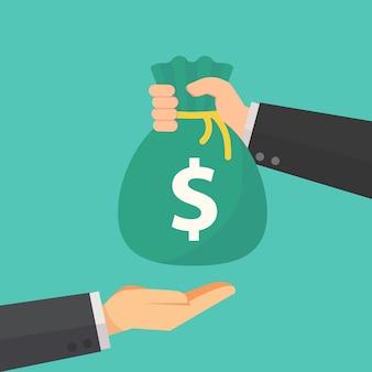 Homme d'affaires donne le sac d'argent à un autre vecteur d'homme d'affaires