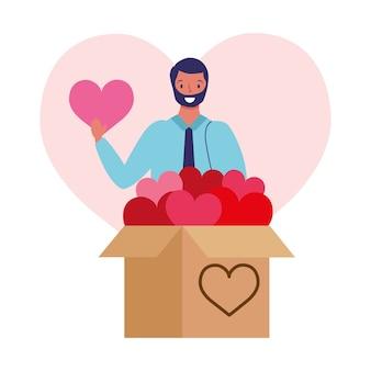 Homme affaires, donner, boîte coeurs