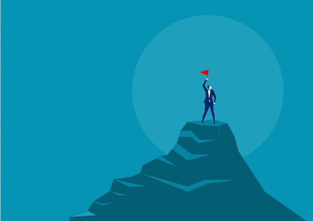 Homme affaires, drapeau rouge, debout, sommet, montagne