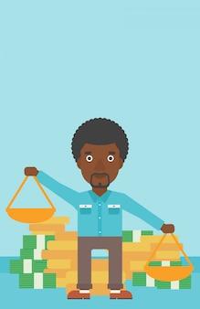 Homme d'affaires avec des échelles vector illustration.