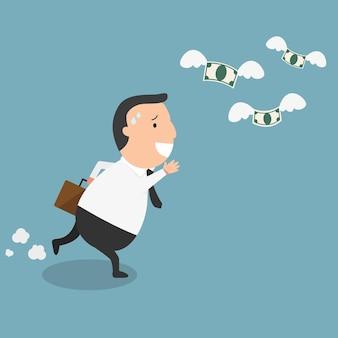Homme d'affaires échoue et argent volant - le concept de l'homme fauché