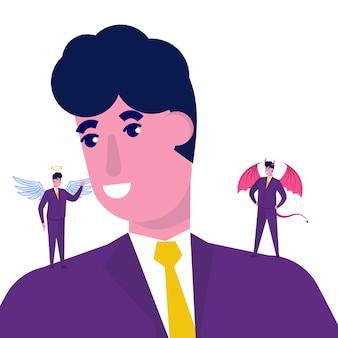 Homme affaires, écoute, diable, et, ange