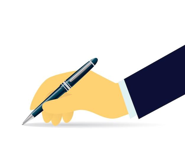 Homme d'affaires écrit avec un stylo isolé sur blanc. illustration vectorielle