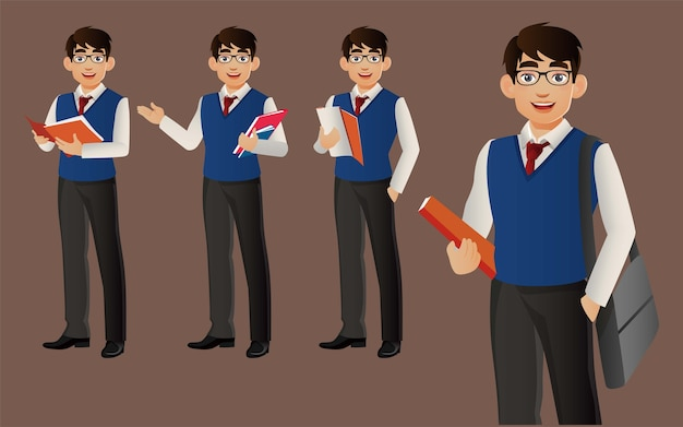 Homme d'affaires élégant avec des poses différentes