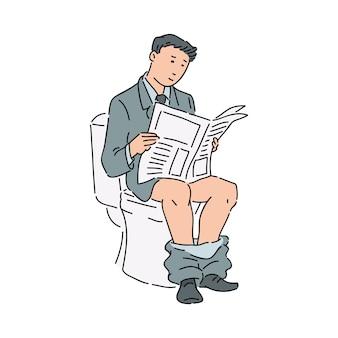 Homme d'affaires ou employé de bureau dans un costume formel lisant un journal dans les toilettes.