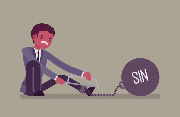 Homme affaires, enchaîné, à, a, metall, poids, péché, scier