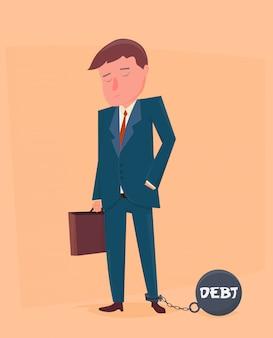 Homme d'affaires enchaîné à sa dette