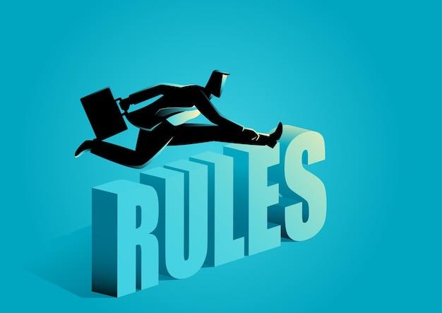 Homme d'affaires enfreignant les règles