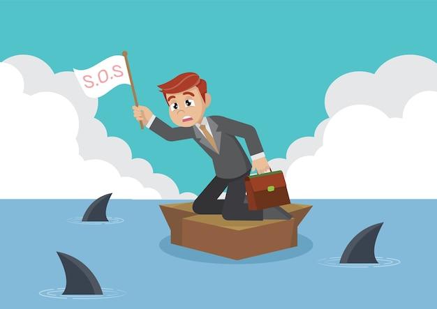Homme d'affaires entouré de requin.