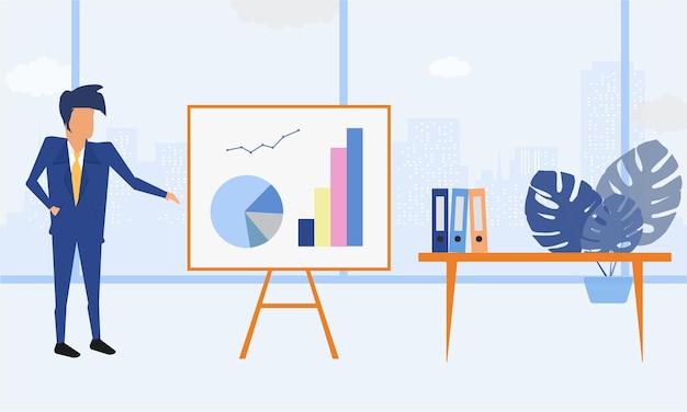 Homme d'affaires entrepreneur dans un costume présentant des graphiques commerciaux à son bureau propre et élégant. illustration moderne de couleur de style plat.