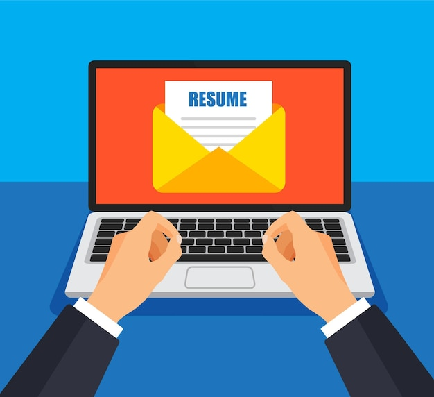 Homme d'affaires envoie le fichier de cv par e-mail. enveloppe et document sur un écran. obtenir ou envoyer un nouveau courrier.