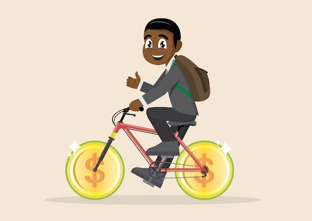 Homme affaires, équitation, argent, monnaie, roue, vélo, réussi