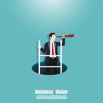 Homme affaires, escalade, échelle, trou