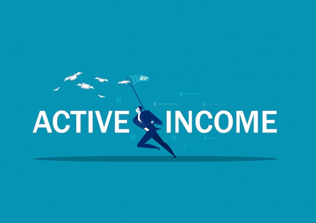 Homme d'affaires essayant d'attraper l'argent voler un revenu actif.