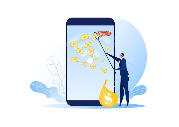 Homme d'affaires essayant d'attraper de l'argent voler sur un téléphone portable